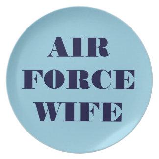Épouse fière de l'Armée de l'Air de plat Assiettes