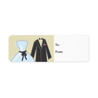 Épouser 4 étiquette d'adresse retour