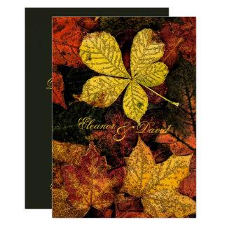 Épouser d'or vintage de feuille d'automne carton d'invitation  12,7 cm x 17,78 cm