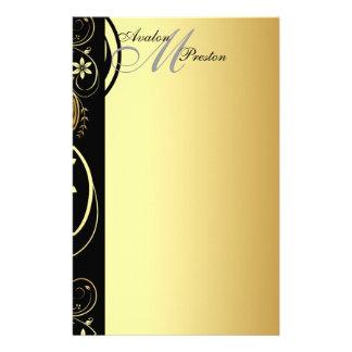 Épouser floral de rouleau de monogramme d'or stati papier à lettre customisable