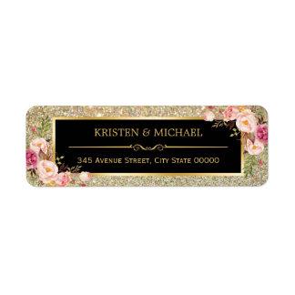 Épouser floral rose chic d'étincelles de étiquette d'adresse retour