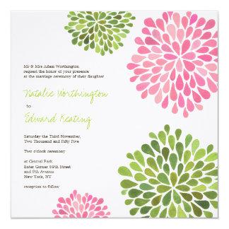 Épouser la fleur rose et verte fleurit invitation