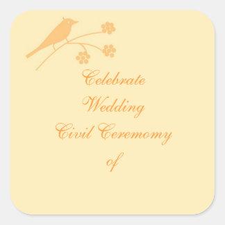 Épouser la personnaliser stationnaire et civile de sticker carré