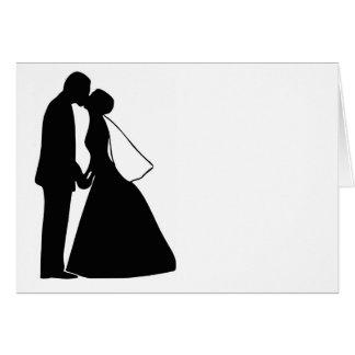 Épouser la silhouette de jeunes mariés de baiser cartes