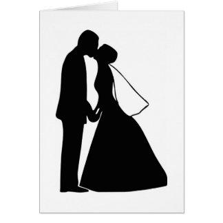 Épouser la silhouette de jeunes mariés de baiser carte