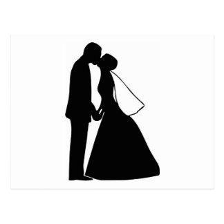 Épouser la silhouette de jeunes mariés de baiser cartes postales