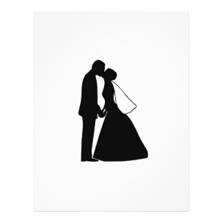 Épouser la silhouette de jeunes mariés de baiser en-tête de lettre avec motif