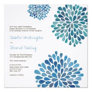 Épouser l'invitation de fleurs de fleur de bleu carton d'invitation  13,33 cm