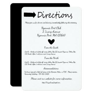 Épouser noir et blanc de détails de directions de carton d'invitation  12,7 cm x 17,78 cm