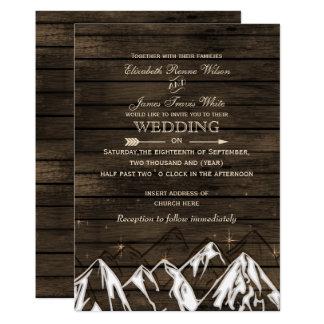 Épouser rustique campant de montagnes de Barnwood Carton D'invitation 12,7 Cm X 17,78 Cm