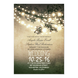 Épouser rustique de branches d'arbre et de carton d'invitation  12,7 cm x 17,78 cm