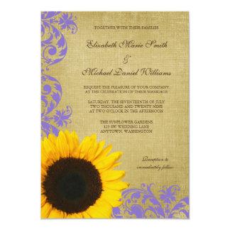 Épouser rustique de remous de lavande de tournesol carton d'invitation  12,7 cm x 17,78 cm