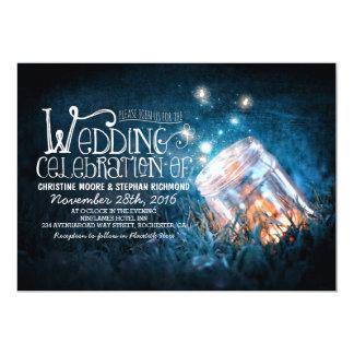Épouser rustique romantique de pot et de lucioles carton d'invitation  12,7 cm x 17,78 cm