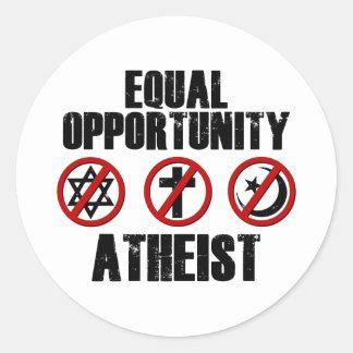 Equal Opportunity Atheist Round Sticker