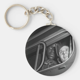 Equal Opportunity War, 1940s Basic Round Button Keychain