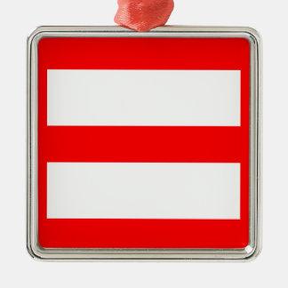 Equal Sign Silver-Colored Square Ornament