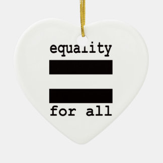 EQUALITY FOR ALL CERAMIC HEART ORNAMENT