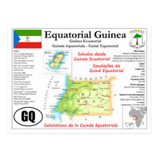 Equatorial Guinea Map Postcard