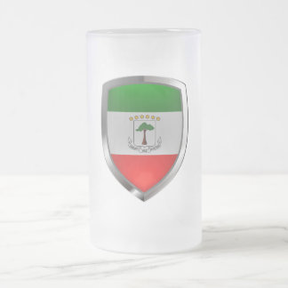 Equatorial Guinea Mettalic Emblem Frosted Glass Beer Mug