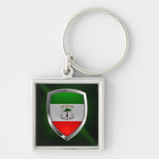 Equatorial Guinea Mettalic Emblem Silver-Colored Square Keychain