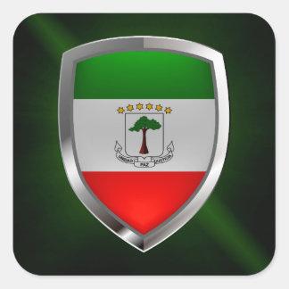 Equatorial Guinea Mettalic Emblem Square Sticker