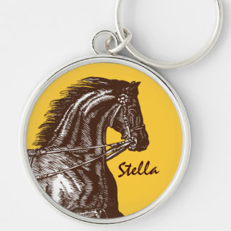 Equestrian- Any Colour Background! Silver-Colored Round Keychain