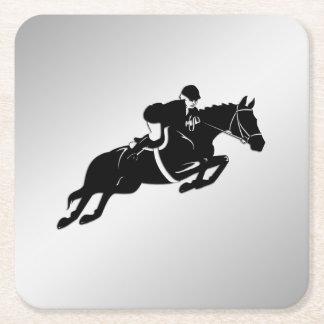 Equestrian Jumper Square Paper Coaster