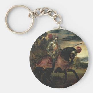 Equestrian Portrait of Charles V Basic Round Button Keychain