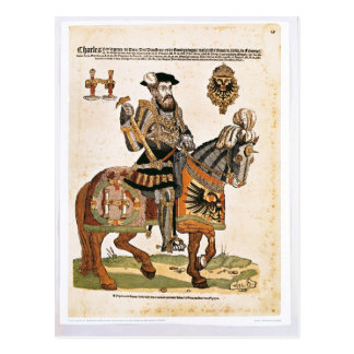 Equestrian portrait of Charles V in armour Postcard