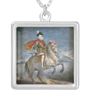 Equestrian Portrait of Philip III  c.1628-35 Silver Plated Necklace