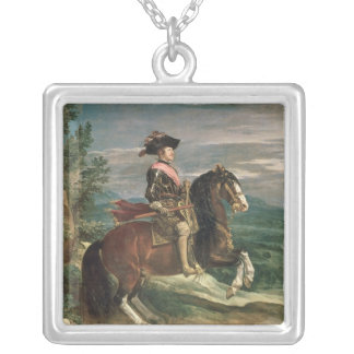 Equestrian Portrait of Philip IV  c.1636 Silver Plated Necklace