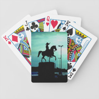 Equestrian Silhouette With Old World Warrior Statu Bicycle Playing Cards