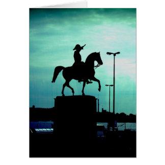 Equestrian Silhouette With Old World Warrior Statu Card