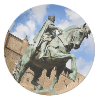 Equestrian statue in Barcelona, Spain Dinner Plates