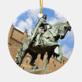 Equestrian statue in Barcelona, Spain Round Ceramic Ornament