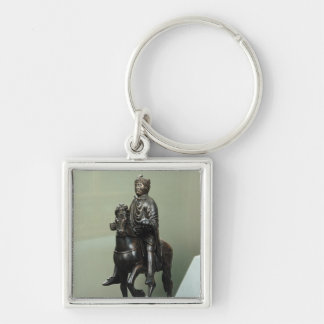 Equestrian statue of Charlemagne Silver-Colored Square Keychain