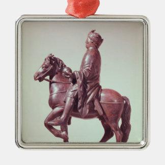 Equestrian statue of Charlemagne Silver-Colored Square Ornament