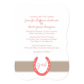"Equestrian Themed Horse Shoes Pattern 5"" X 7"" Invitation Card"