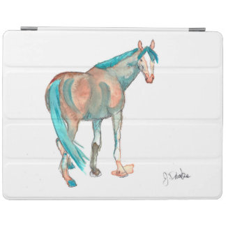 Equestrian Watercolor Abstract Horse Painting iPad Cover