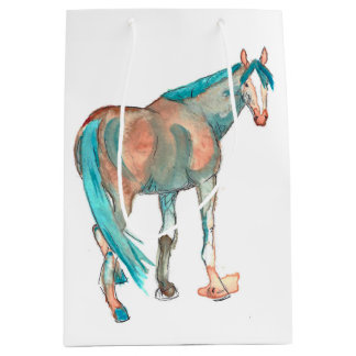 Equestrian Watercolor Abstract Horse Painting Medium Gift Bag
