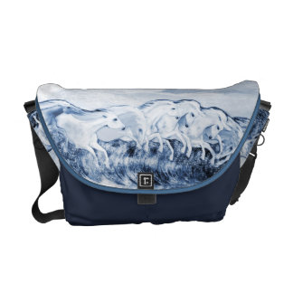 Equestrian Wave of Horses Blue Tone Purse Messenger Bags