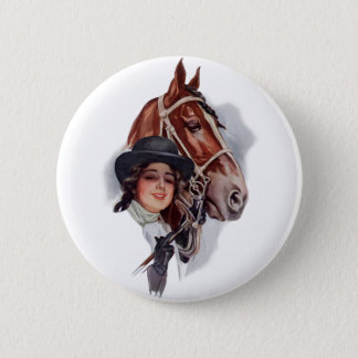 Equestrian Woman 2 Inch Round Button