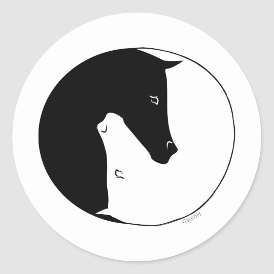 Equestrian Ying Yang Classic Round Sticker