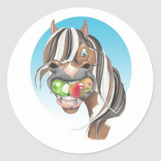 Equi-toons 'Apple Magnet' horse stickers. Classic Round Sticker