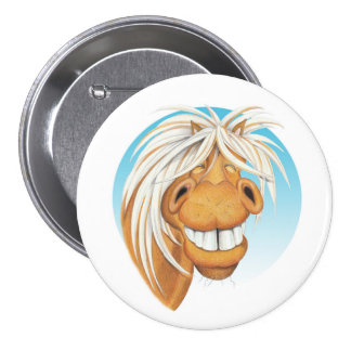 Equi-toons 'Cheeky Chappie' horse companion . 3 Inch Round Button