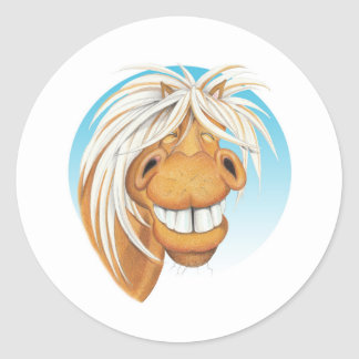 Equi-toons 'Cheeky Chappie' horse companion . Round Sticker