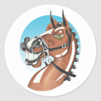 Equi-toons 'Kerching'! brown horse companion. Classic Round Sticker