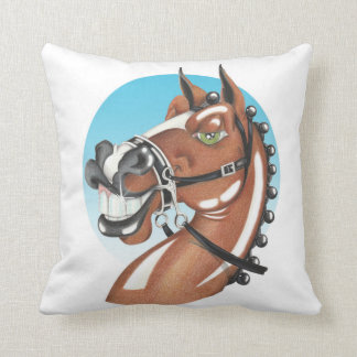 Equi-toons 'Kerching'! brown horse cushion. Throw Pillow