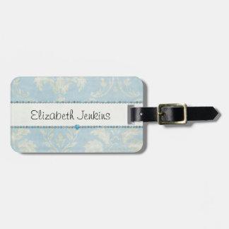 Équilibre bleu de diamants de damassé vert clair b étiquettes pour bagage