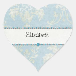 Équilibre bleu de diamants de damassé vert clair b autocollant en cœur